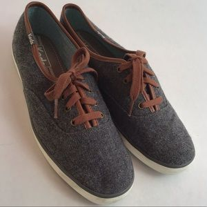 Keds Gray Wool Blend Lace Up Sneakers, Size 8
